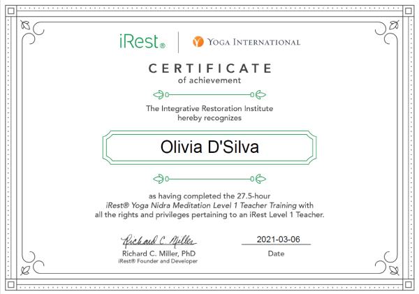 iRest Level One Certificate